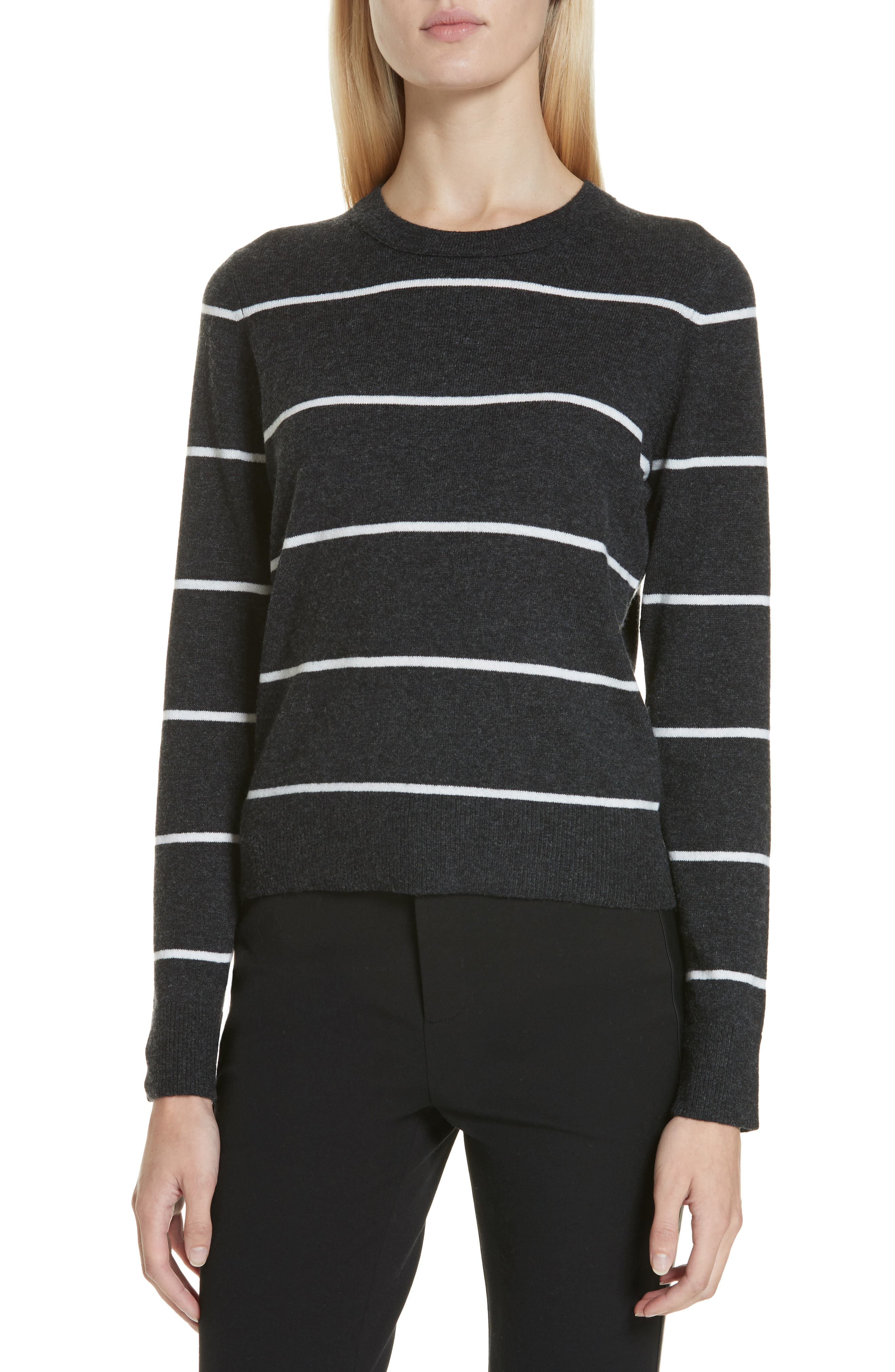 2c1f1ac7a965 Vince Striped Cashmere Pullover Sweater In Heather Charcoal/ Off White
