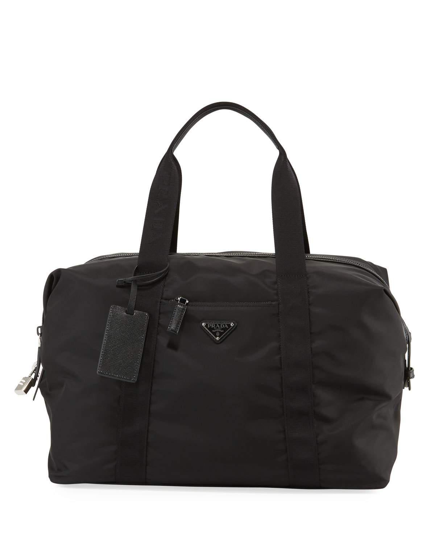 6e26b6c16f9d Prada Small Leather-Trimmed Duffel Bag - Black