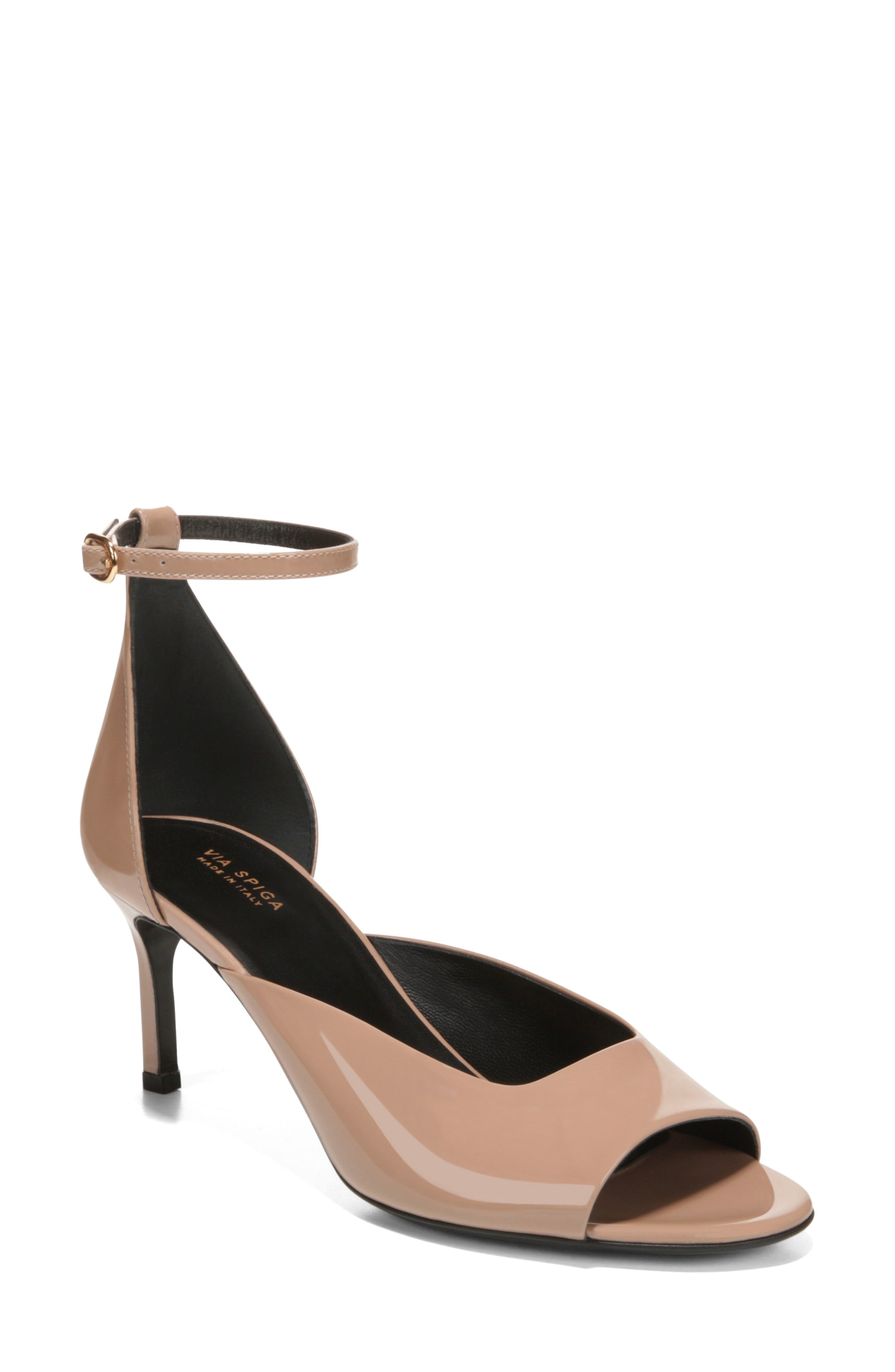 807c3d3b172 Via Spiga Women S Jennie Patent Leather Mid-Heel Sandals In Nude Patent