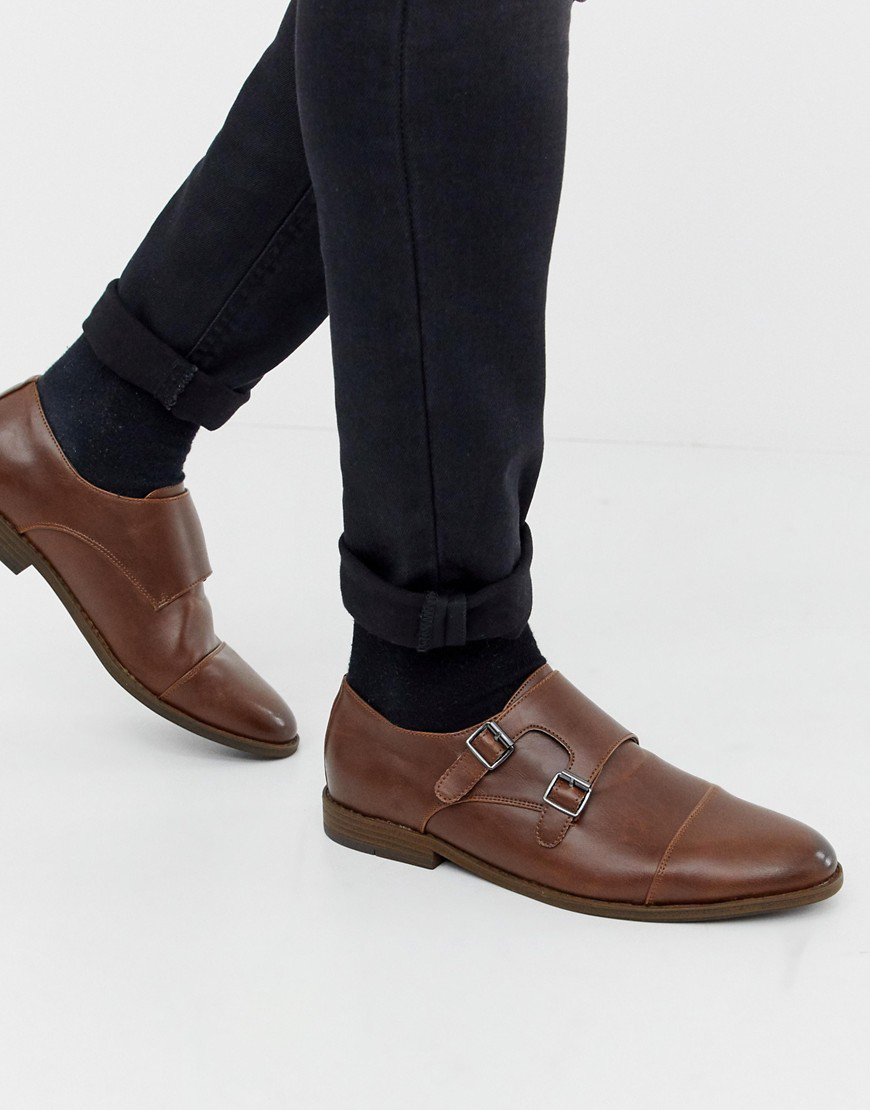 New Look Monk Strap Shoes In Brown - Brown