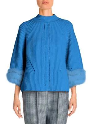 Fendi Fox Fur-trim Cashmere Sweater In Antigua Blue