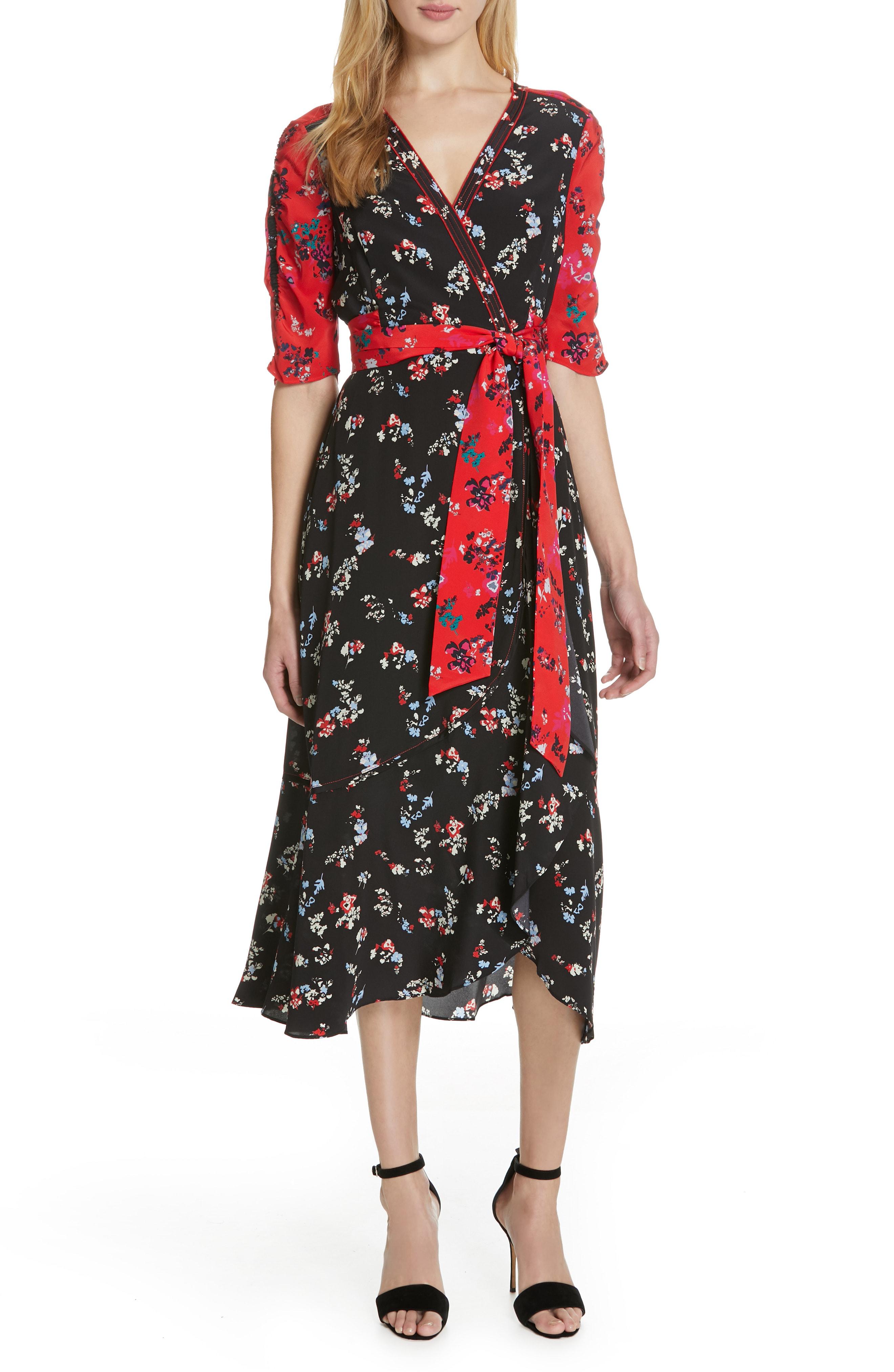 2b7c777379b2 Tanya Taylor Blaire Floral-Print Silk Short-Sleeve Wrap Dress