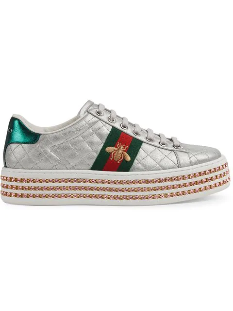 Gucci Quilted Crystal-platform Sneakers In 8193 Silver