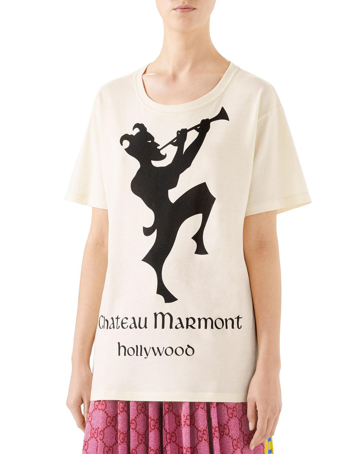 63ce0055750 Gucci Oversize T-Shirt With Chateau Marmont Print In Ivory