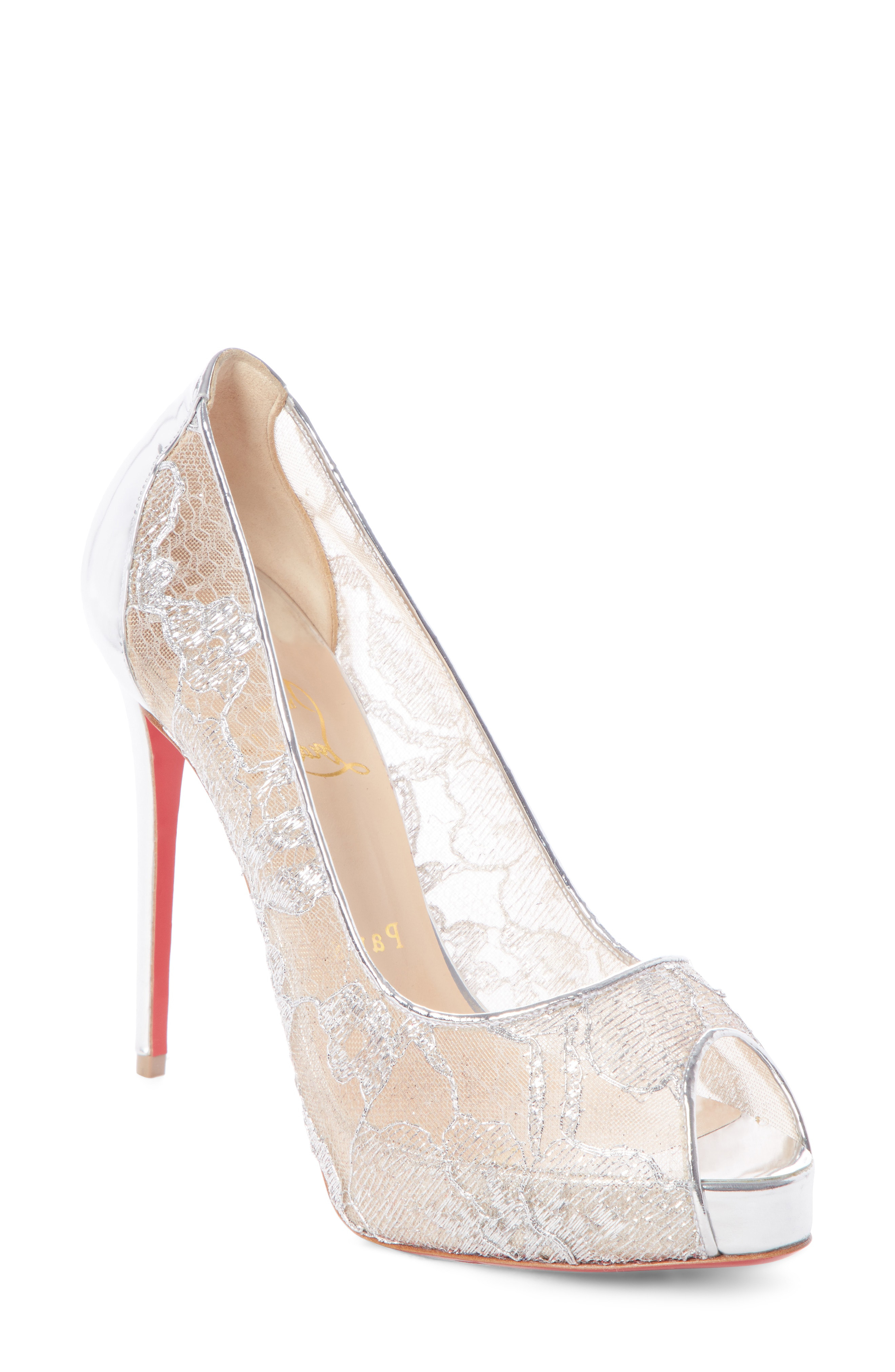 6ae4018192f1 Christian Louboutin Very Lace 120Mm Metallic Peep-Toe Red Sole Pumps In  Silver