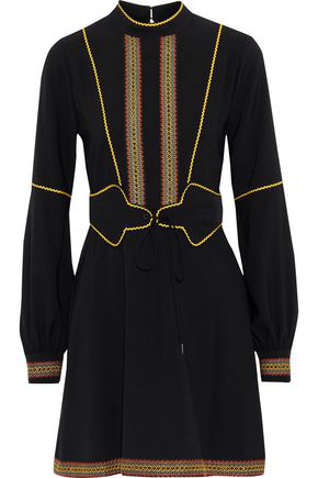 Anna Sui Woman Embroidered Crepe Mini Dress Black In Black Sunshine