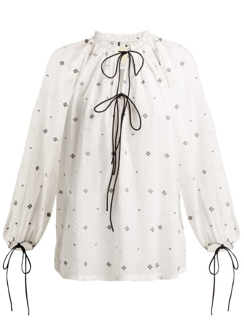 Anaak Fay Diamond-Jacquard Cotton Blouse In White Print