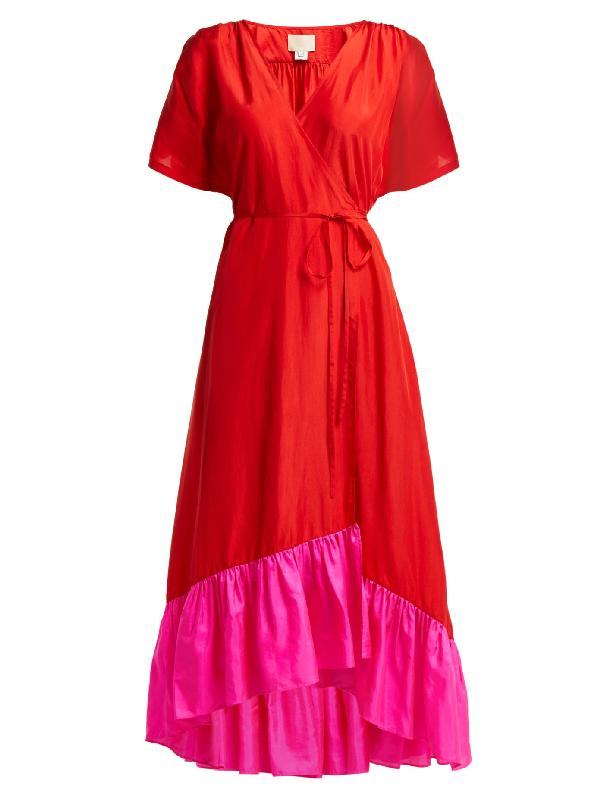 Anaak Akari Silk-satin Wrap Dress In Red Multi