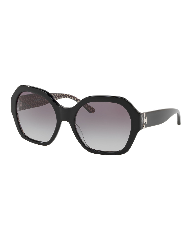 b62d2c082a4c Tory Burch Serif T 57Mm Hexagonal Sunglasses - Black   ModeSens