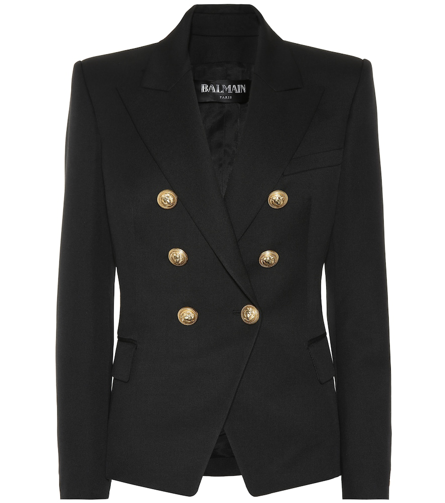 Balmain Tailored Double-breasted Wool Blazer In Black
