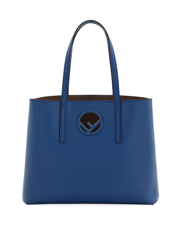 b1e88dbcf1 Fendi F Logo Calf Leather Shopping Tote Bag In Royal