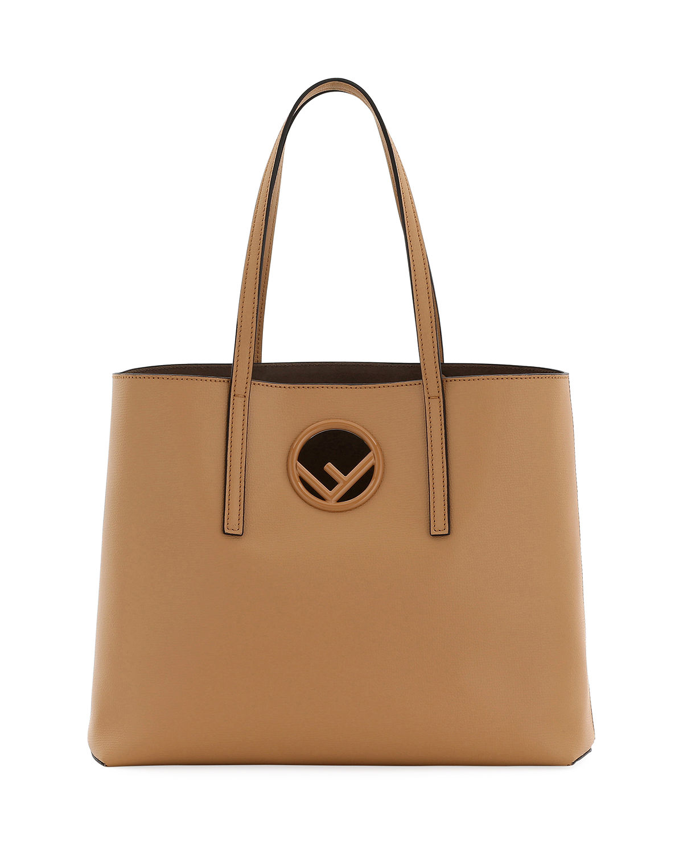 Fendi F Logo Calf Leather Shopping Tote Bag In Miele Scuro  Taupe ... c61b3055f19b3