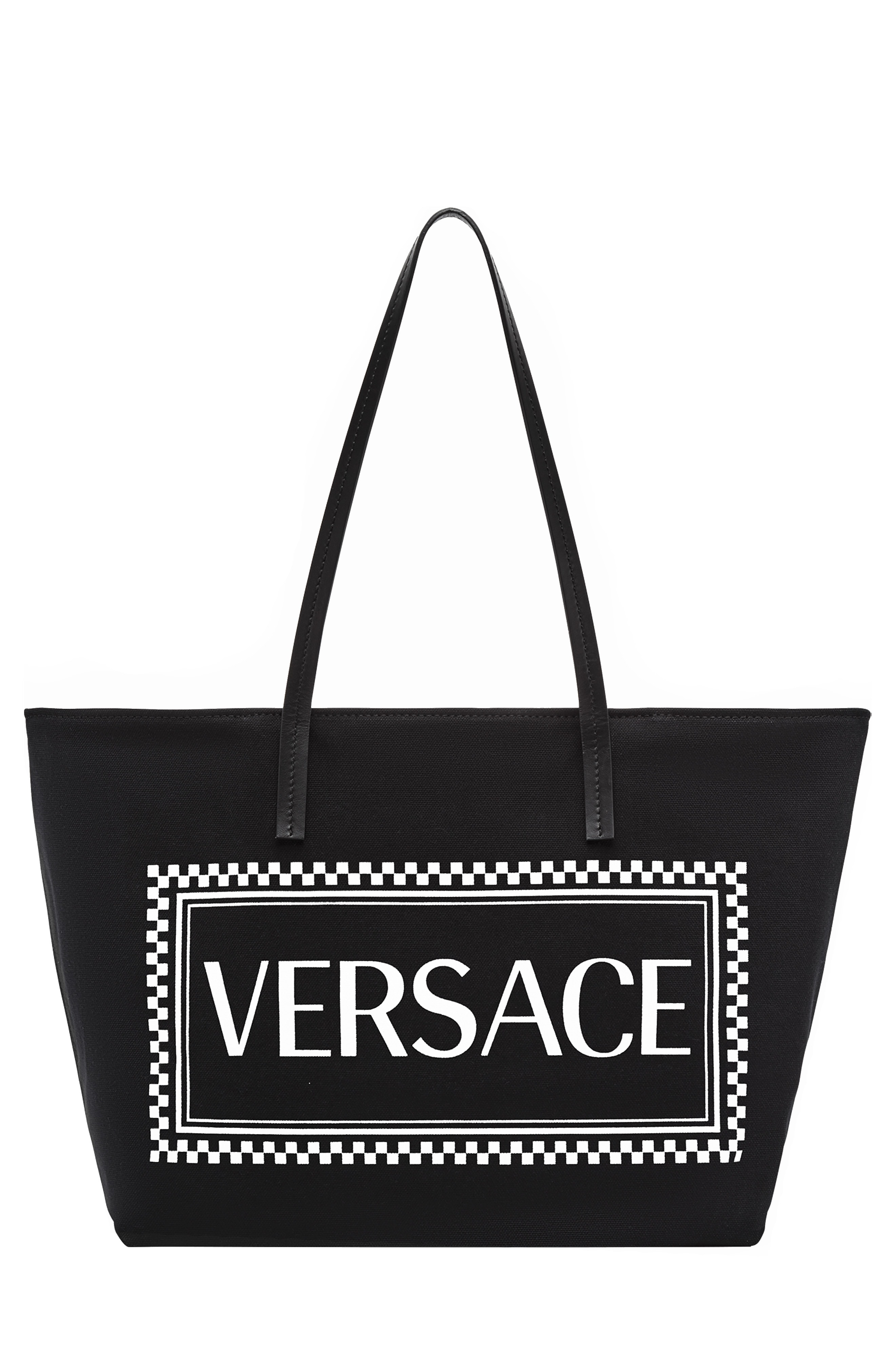2fdb513371 Versace Maxi Logo Printed Coated Canvas Tote Bag In Black | ModeSens