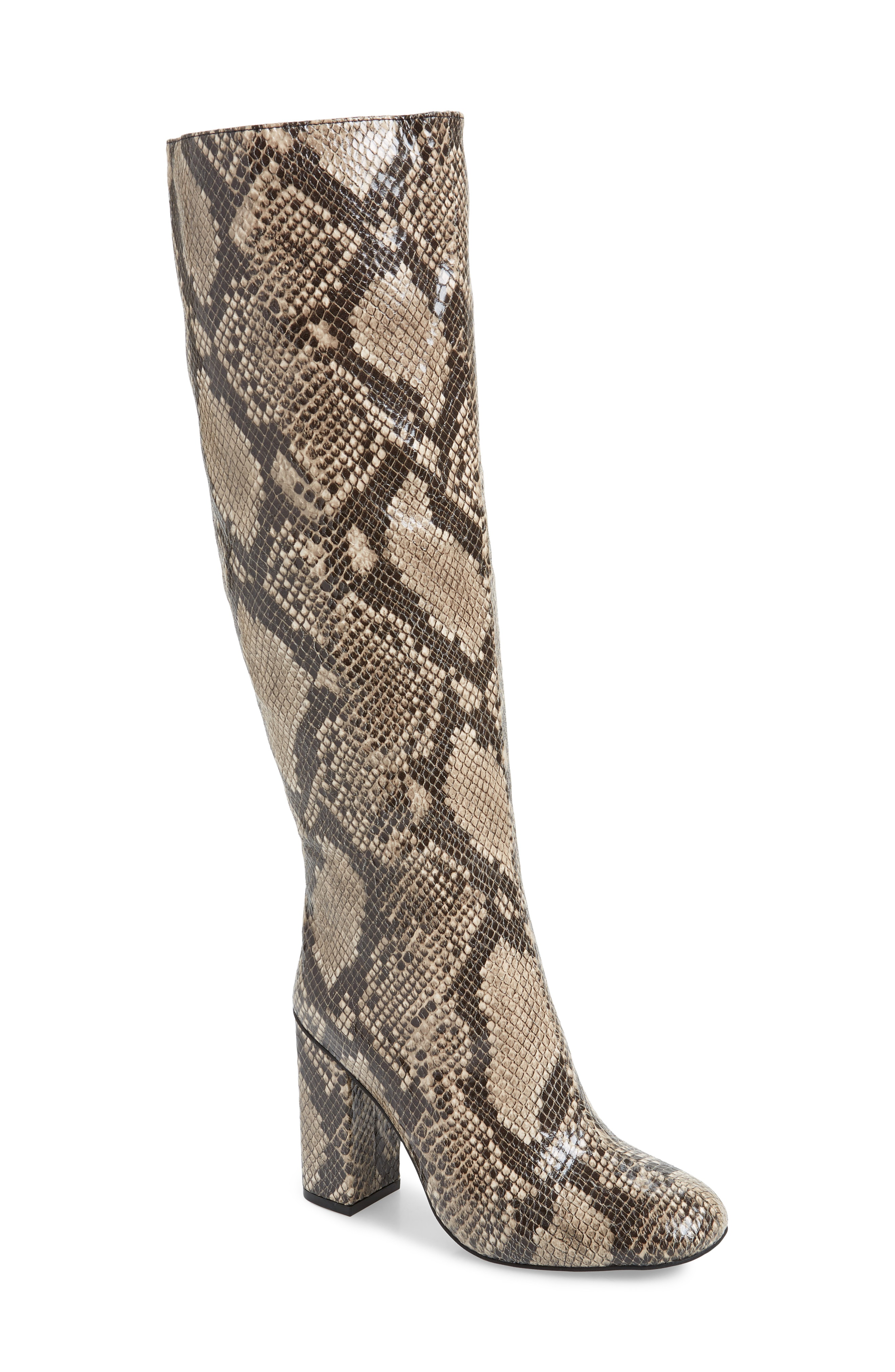 4759e378c4 Jeffrey Campbell Bandera Knee High Boot In Beige Snake Print Faux Leather