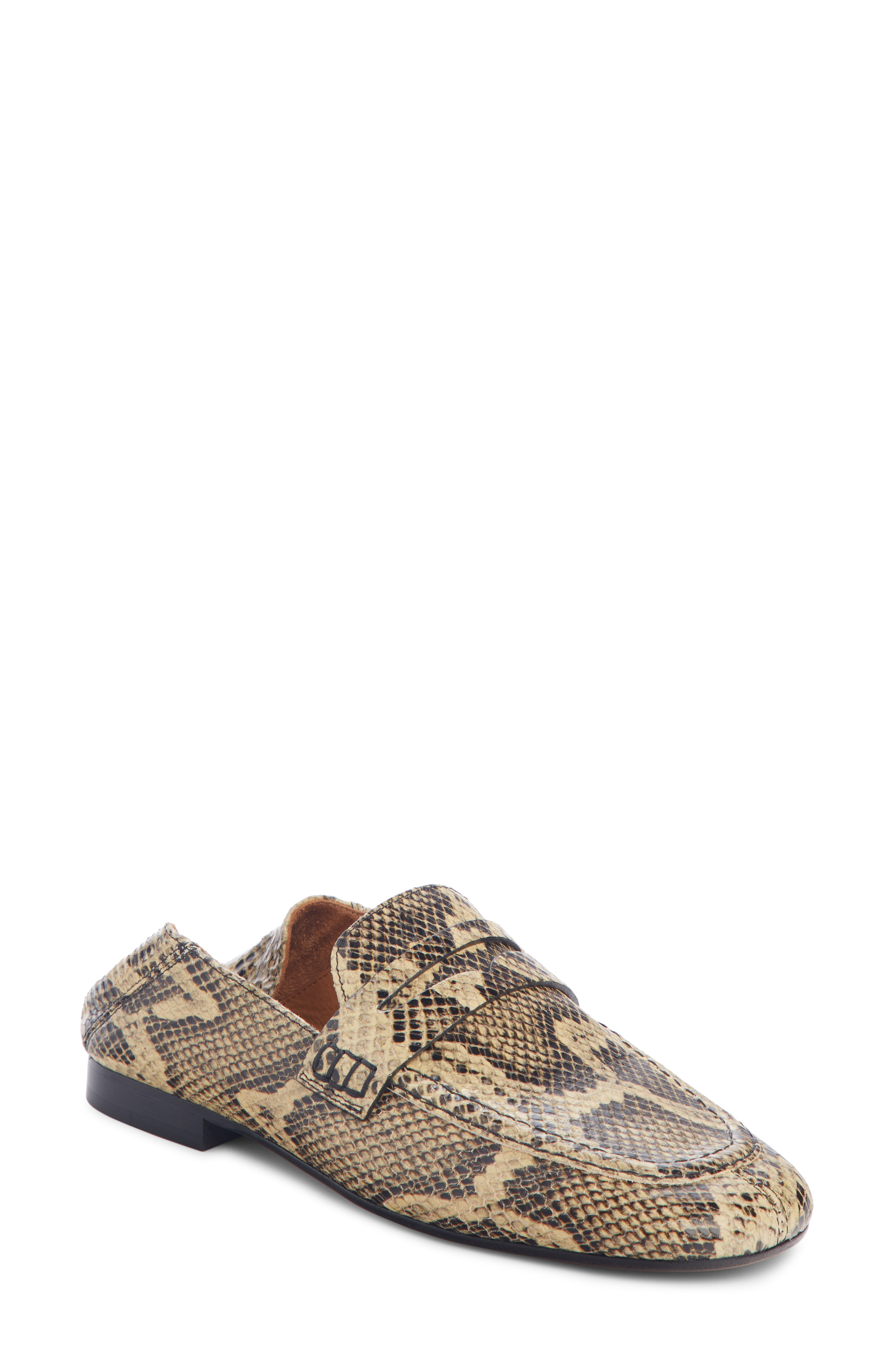 6ab2a266b5d Isabel Marant Fezzy Snakeskin-Effect Leather Penny Loafers In Cream Multi