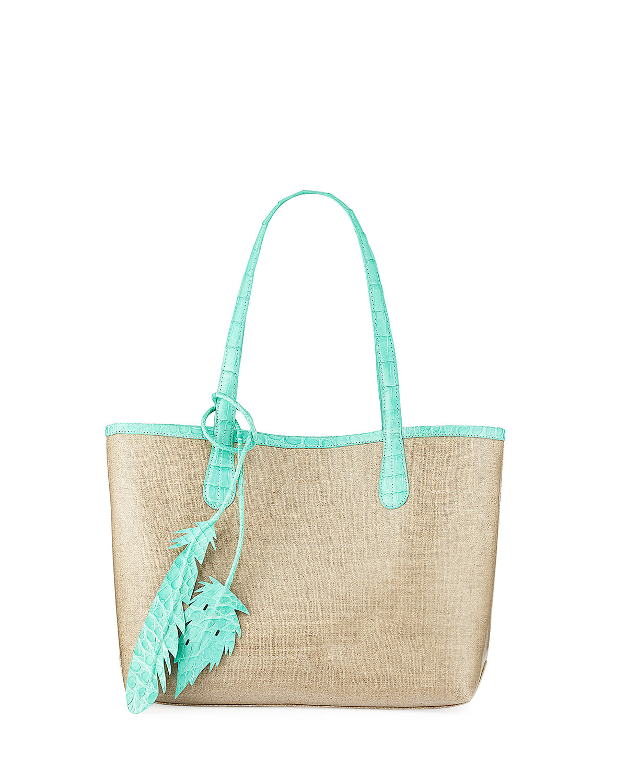 62b0dda20692 Nancy Gonzalez Erica Small Linen Leaf Tote Bag In Multi