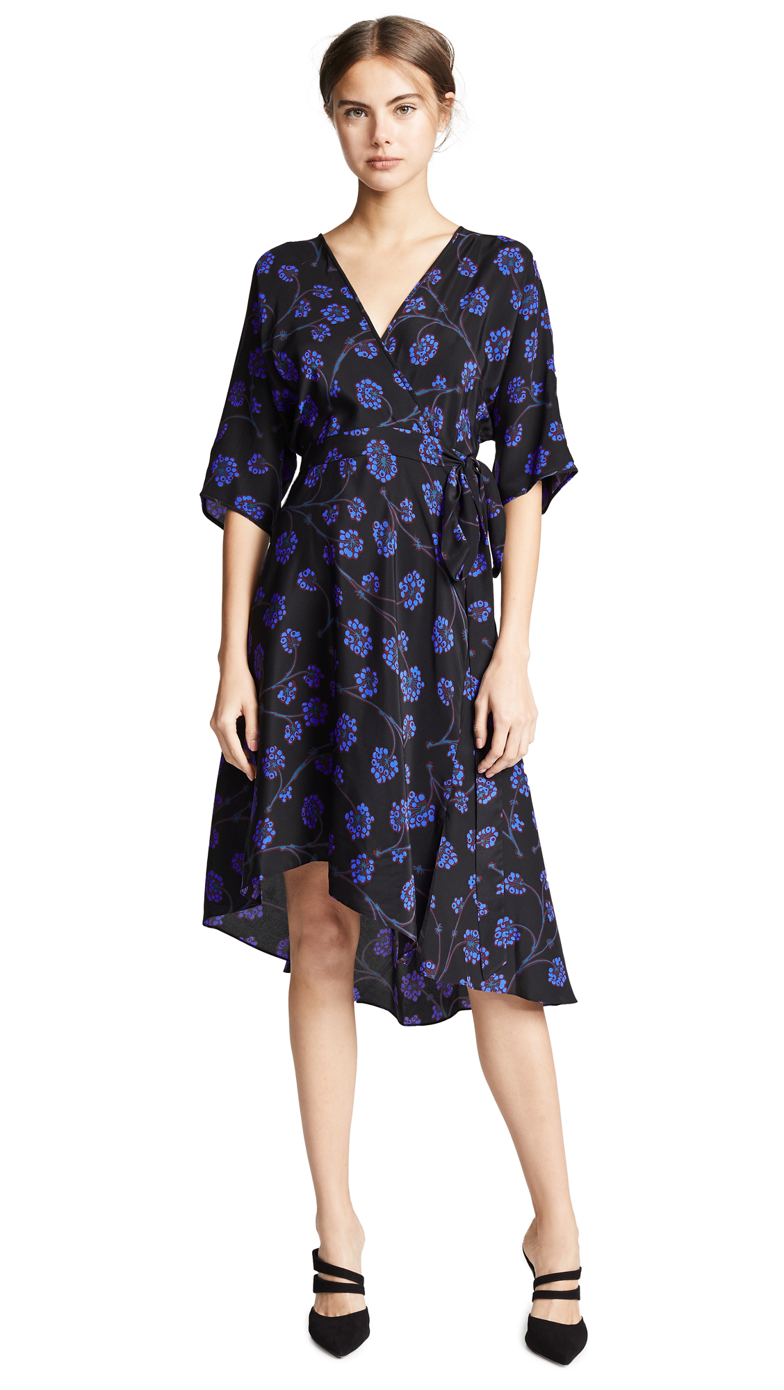 26f231bf56029 Diane Von Furstenberg Eloise Asymmetric Printed Silk Crepe De Chine Wrap  Dress In Black