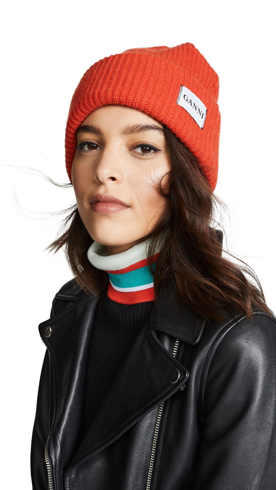 9d1c9dec76e65 Ganni Hatley Wool-Blend Beanie Hat In Fiery Red
