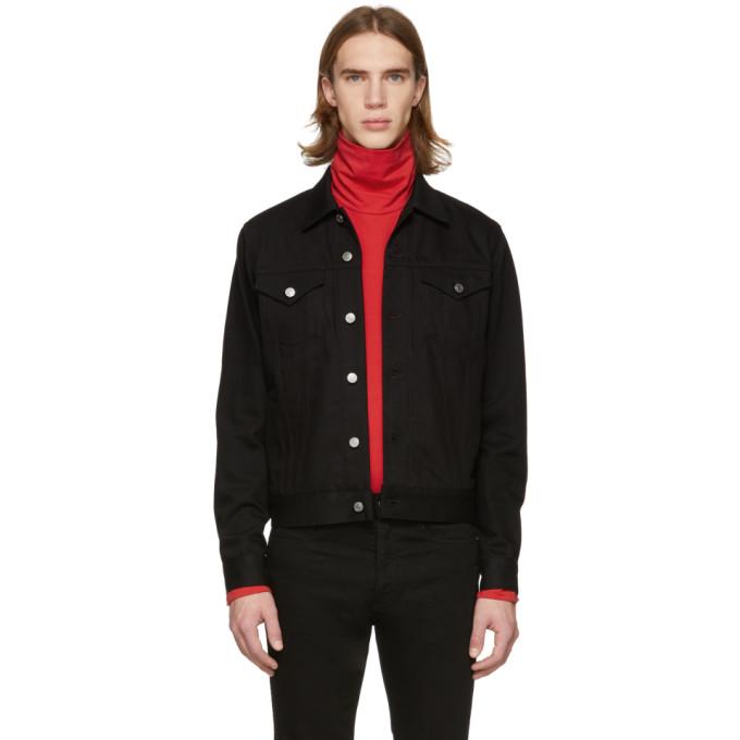 Givenchy Cotton Denim Jacket W/ Logo Side Bands In 001 Black