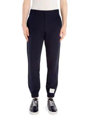 Thom Browne Tech Knit Piping Sweatpants In Navy