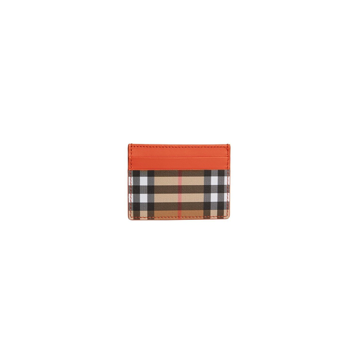 Burberry Vintage Check And Leather Card Case In Clementine