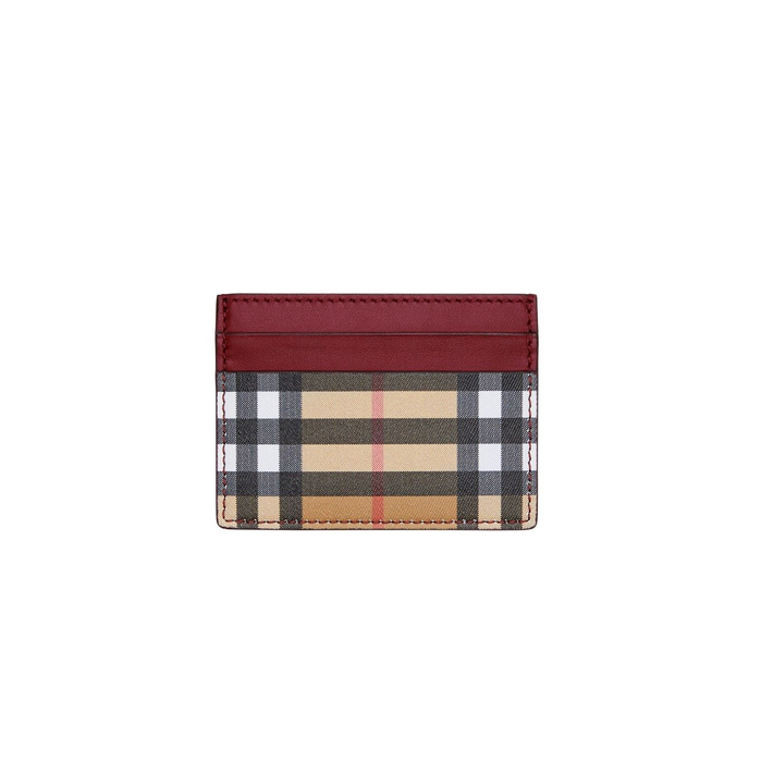 Burberry Vintage Check And Leather Card Case In 60150 Crimson