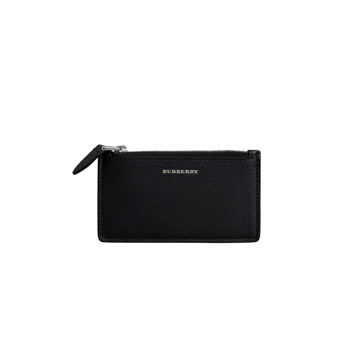 Burberry Two-tone Leather Zip Card Case In Black