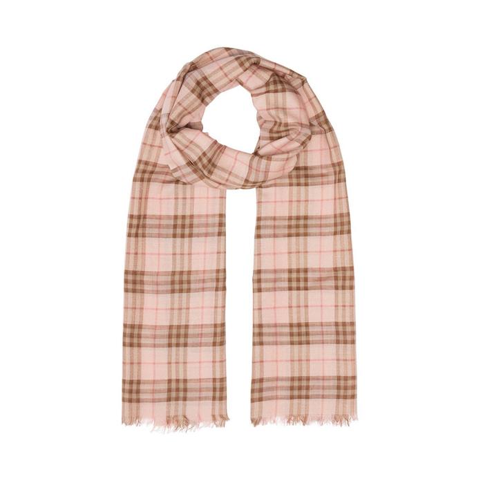 Burberry Metallic Check Wool Silk Blend Scarf In Pink