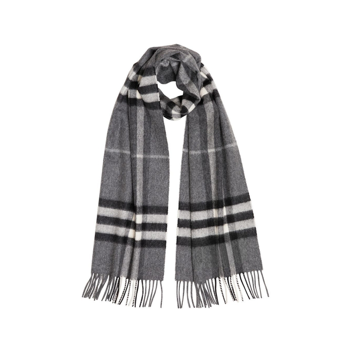 Burberry The Classic Check Cashmere Scarf In Pale Grey
