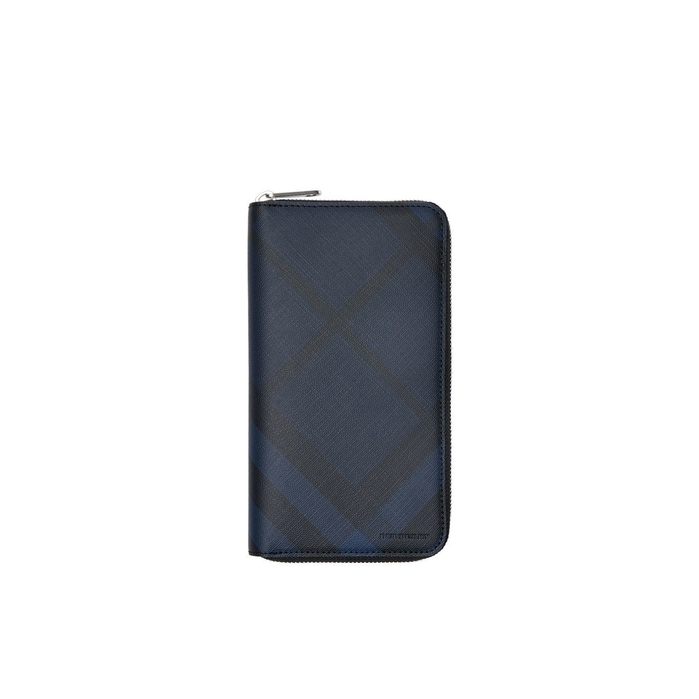 Burberry London Check And Leather Ziparound Wallet In Blue