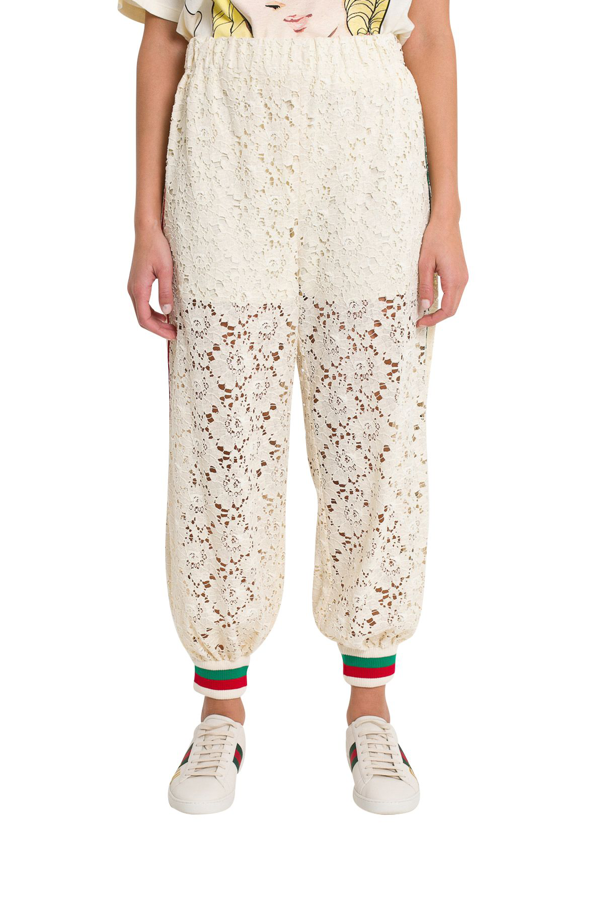 3df9a39303fa Gucci Flower Lace Jogging Pant In Panna | ModeSens
