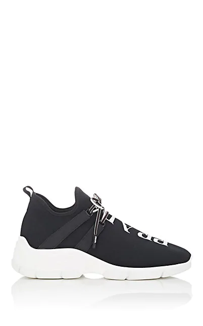 Prada Logo-Jacquard Stretch-Knit Sneakers In Black