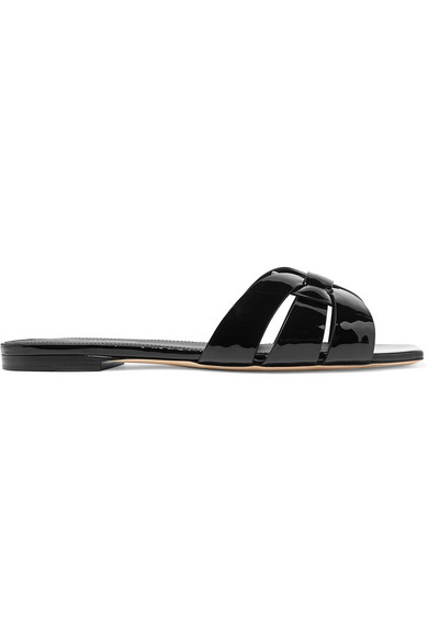 Saint Laurent Tribute Nu Pieds Leather And Canvas Slides In Black