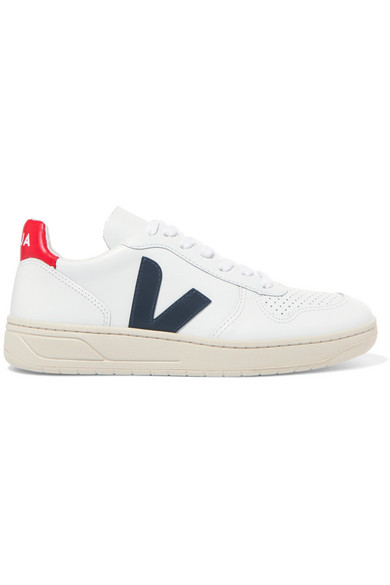 Veja V-10 Leather Trainers - Extra White/nautico/pekin