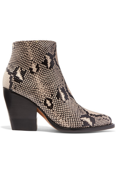 ChloÉ Rylee Snake-Effect Leather Ankle Boots In Gray