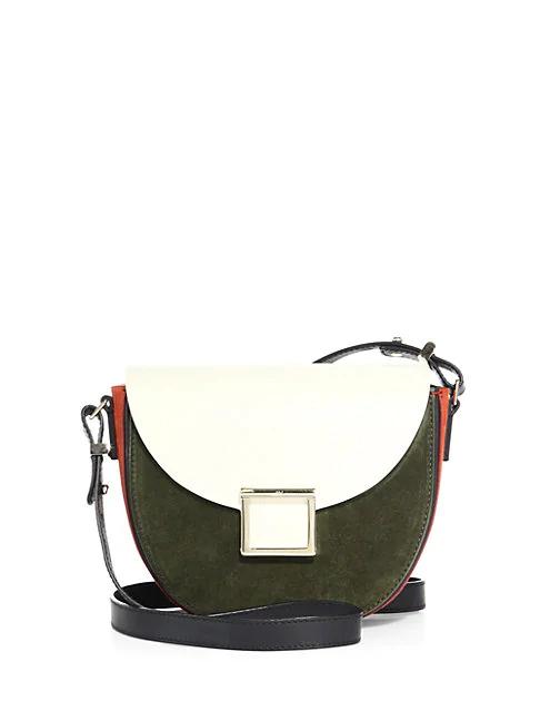 Jason Wu Mini Jaime Colorblock Leather Saddle Bag In Olive
