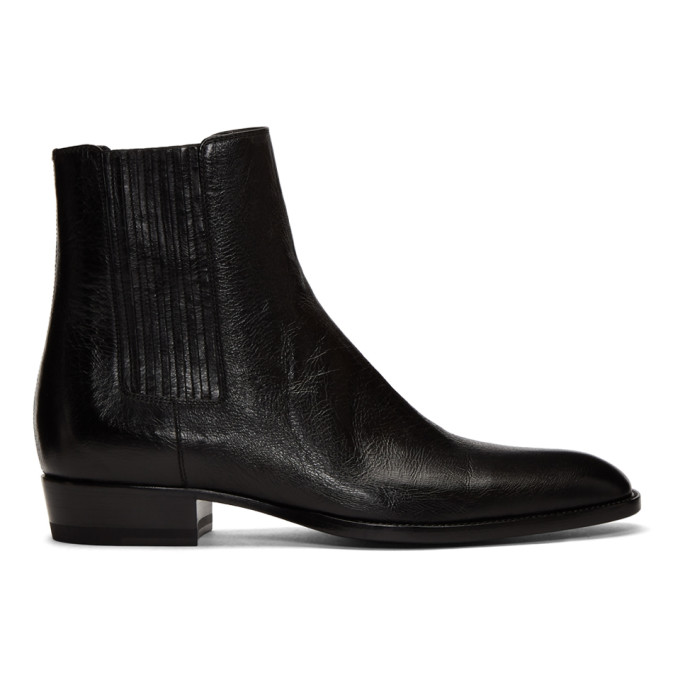 Saint Laurent Wyatt Black Leather Chelsea Boots In 1000 Black