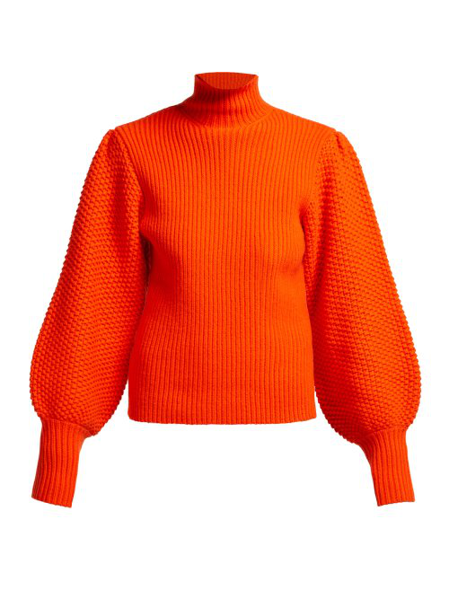 ChloÉ Balloon-Sleeve High-Neck Chunky Wool-Blend Sweater In Tomato Red