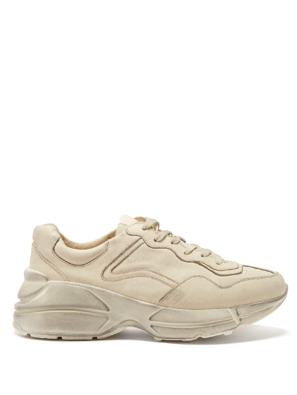 Gucci Rhyton Worn-effect Low-top Leather Trainers In 9522 Ivory