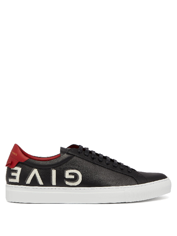 Givenchy Black, White And Red Urban Street Logo Leather Sneakers In 009-blk/red