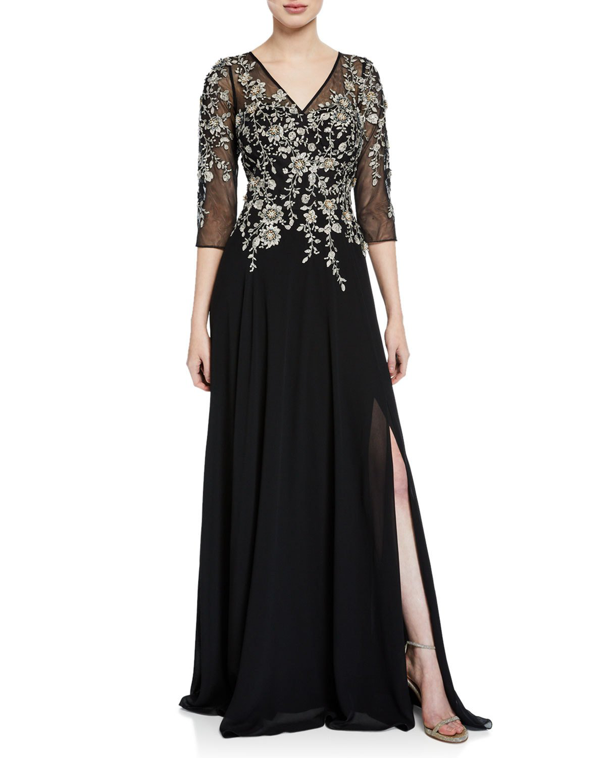 3de87fe804f RICKIE FREEMAN FOR TERI JON. V-Neck 3 4-Sleeve Beaded Floral-Embroidered Gown  W  ...