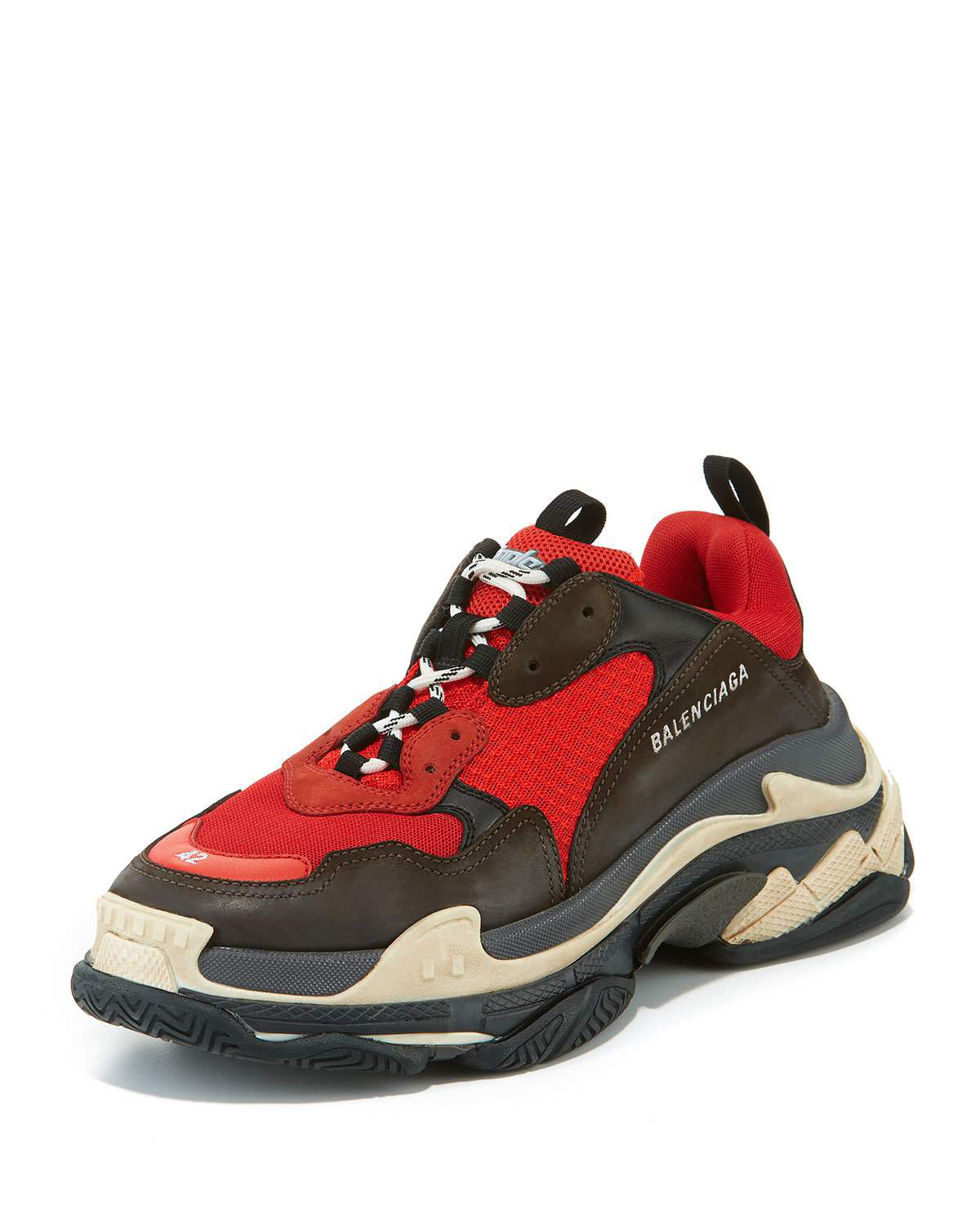 550b55d9e8a62 Balenciaga Capsule Triple S Runner Leather And Mesh Trainers In Red ...