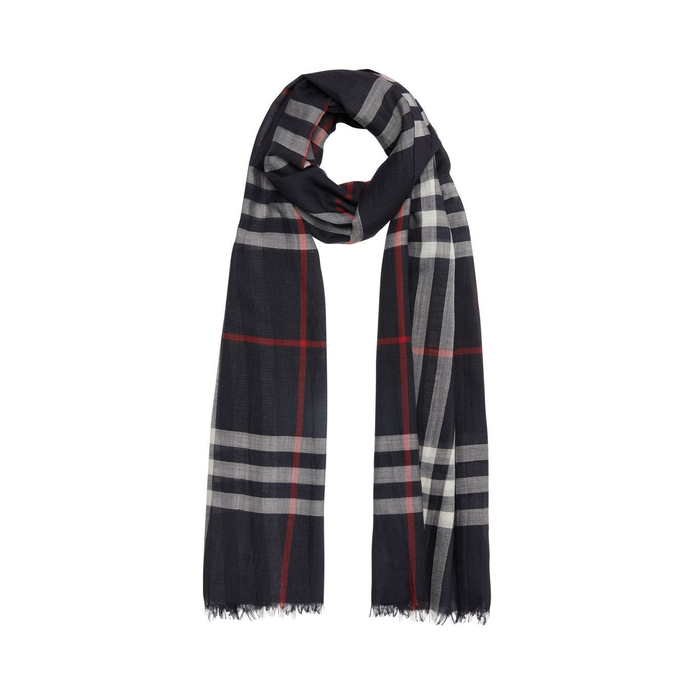 Burberry Lightweight Wool And Silk Check Scarf In Blue