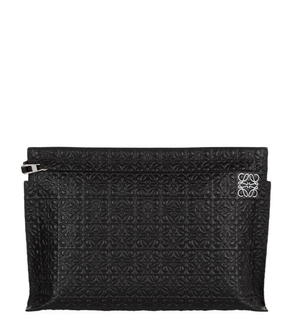 Loewe T Embossed Leather Pouch In Black