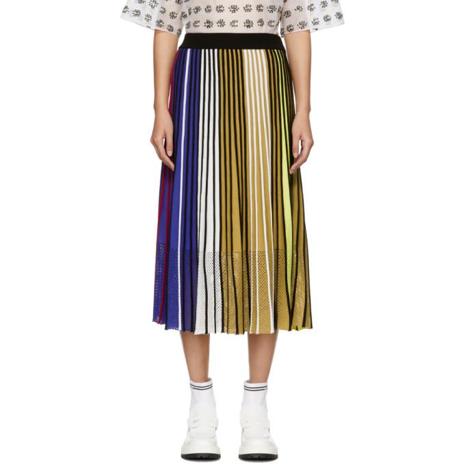 d256deac2 Kenzo Vertical-Stripe Pleated Mesh Midi Skirt In Mu -Multico | ModeSens