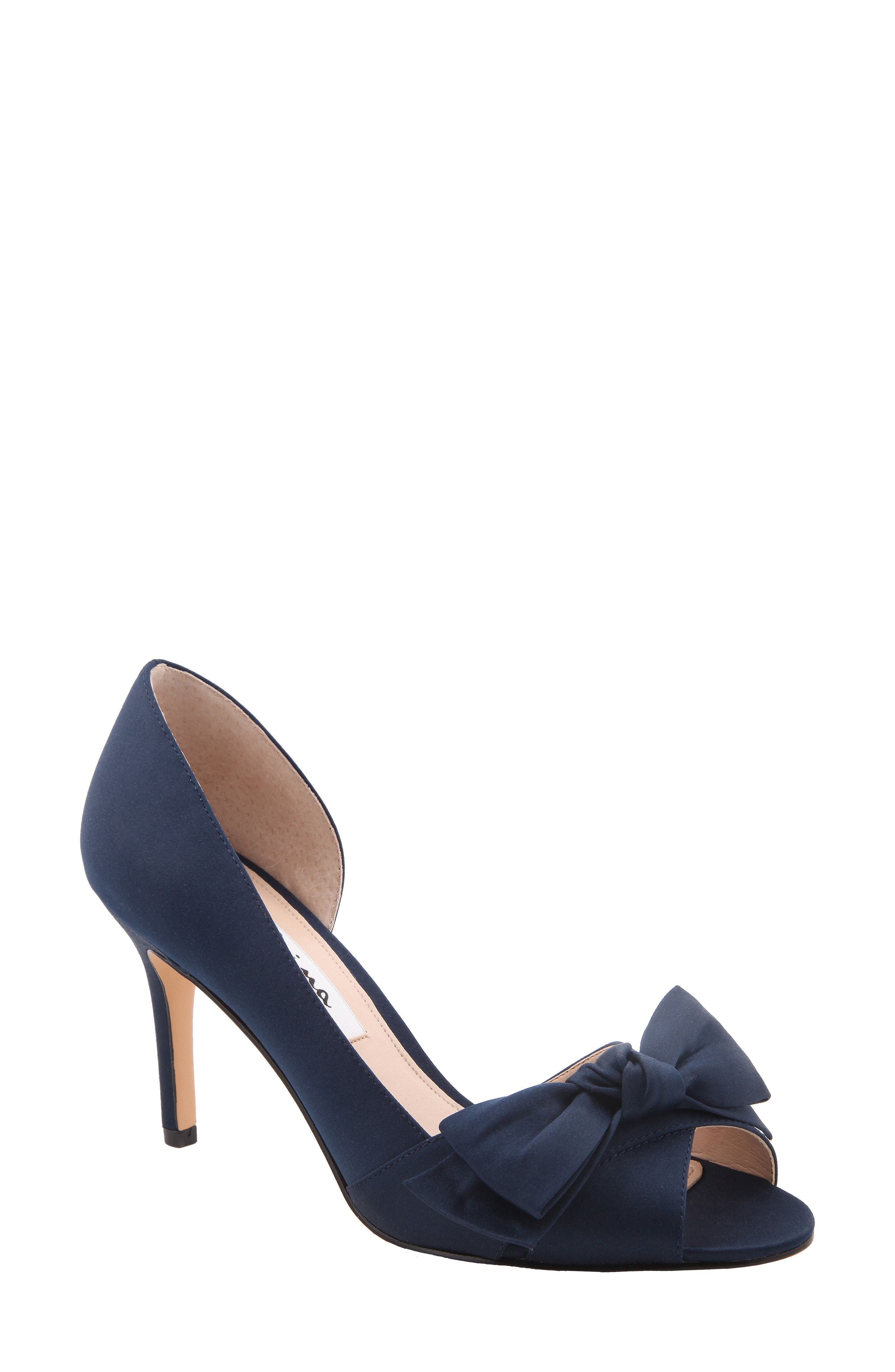 060d8c62adb77 Nina Forbes 2 Bow Peep-Toe D'Orsay Evening Pumps Women's Shoes In New