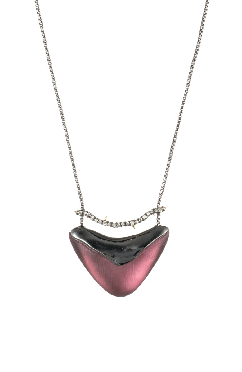 Alexis Bittar Crystal Encrusted Bar & Shield Pendant Necklace In Red Heather