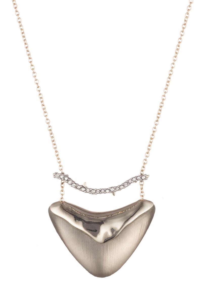 Alexis Bittar Essentials Crystal Encrusted Bar & Shield Pendant Necklace In Warm Grey