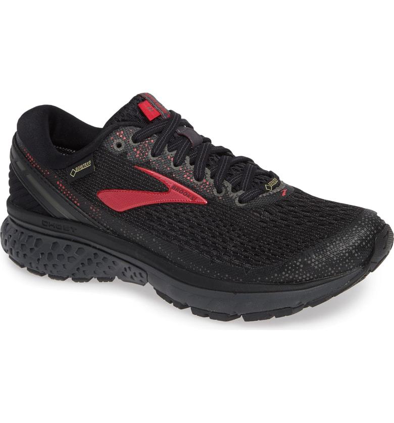 Brooks Ghost 11 Gtx Gore-tex Waterproof Running Shoe In Black/ Pink/ Ebony