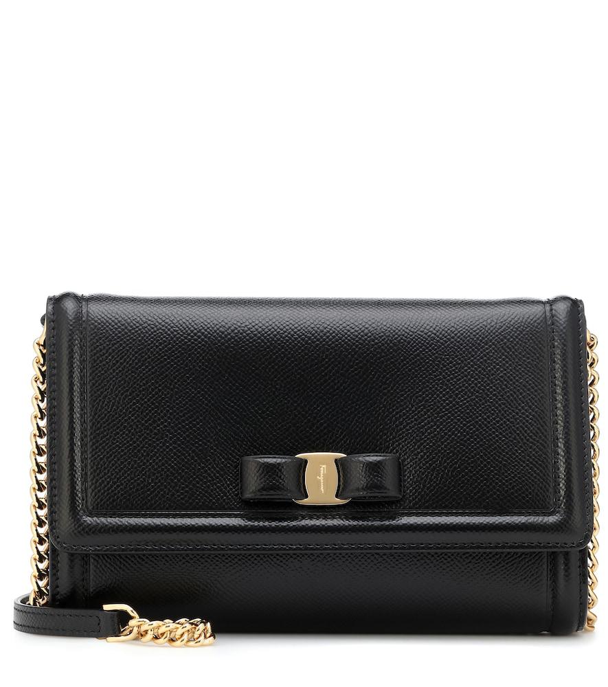 Salvatore Ferragamo Mini Vara Leather Crossbody Bag - Black In Nero